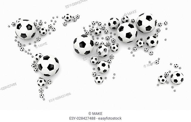 Black and White Soccer Balls Arranged as a World Map on White Background 3D Illustration