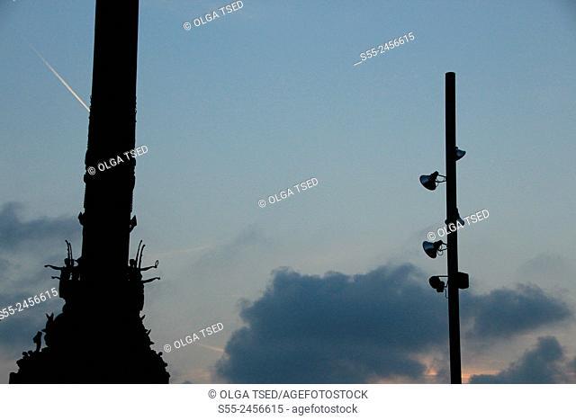 Monument to Columbus, detail. Maremagnum area, Port Vell, Barcelona, Catalonia, Spain