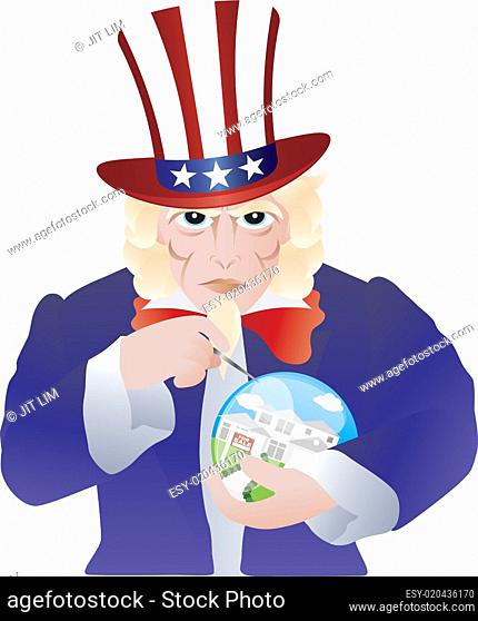 Uncle Sam Bursting the Real Estate Bubble Illustration