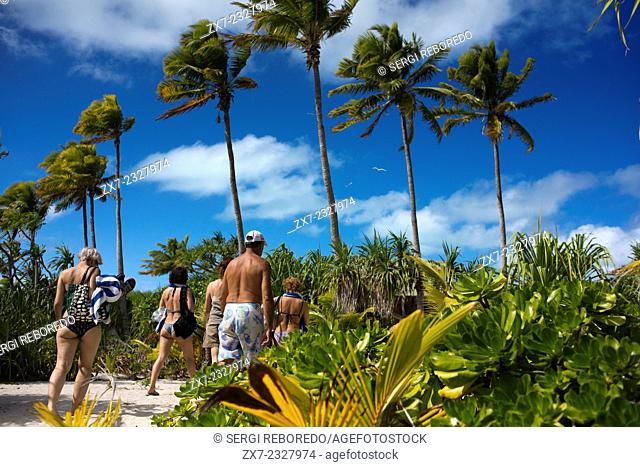Aitutaki. Cook Island. Polynesia. South Pacific Ocean. Some of the beaches with palm tres. Aitutaki (Aye-too-tah-ki) is an island in the Southern Cook Islands a...
