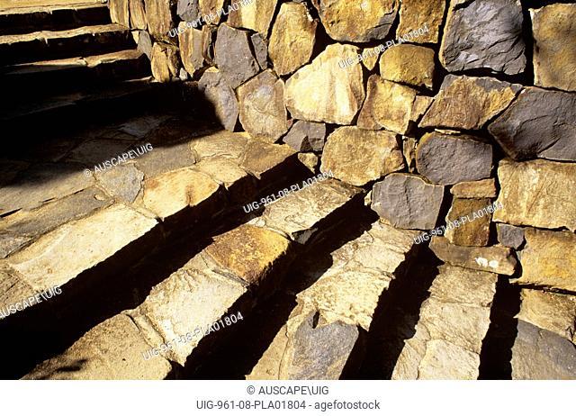 Basalt steps and wall