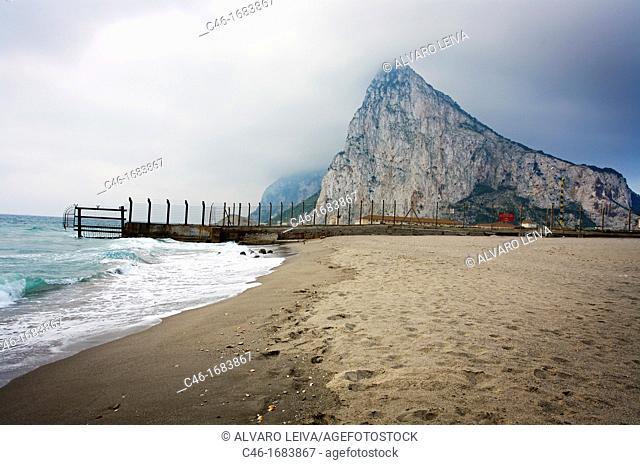 Fence of the Rock of Gibraltar, From La Linea de la Concepcion, Cadiz province Andalusia Spain