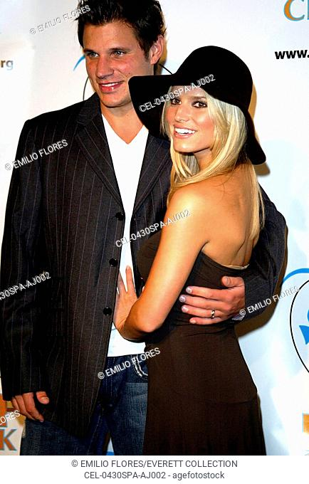 Jessica Simpson and Nick Lachey at the 2004 REEF CHECK ANNUAL BENEFIT, September 30, 2004 in Santa Monica. (Photo by J. Emilio Flores/Everett Collection)