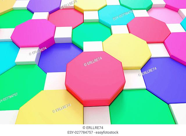 3d rendering of some colored hexagons