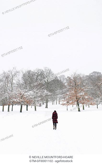 Woman in snowy landscape (V)