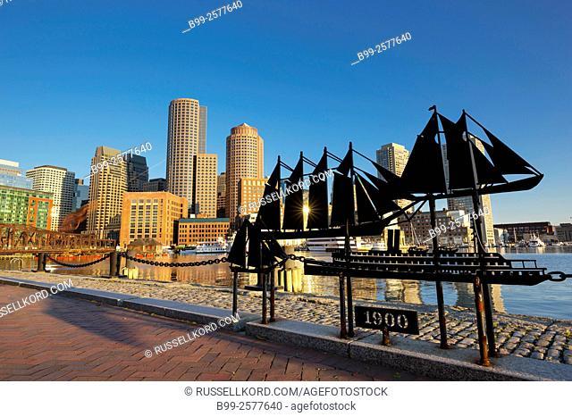 Historic Ship Sculptures Fan Pier Harborwalk Rowes Wharf Downtown Skyline Inner Harbor South Boston Massachusetts Usa