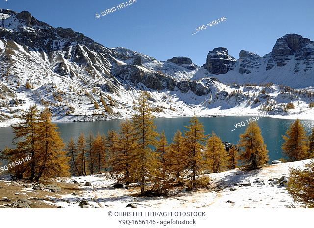 Lake Allos in Winter Mercantour National Park Alpes-de-Hautes-Provence French Alps France