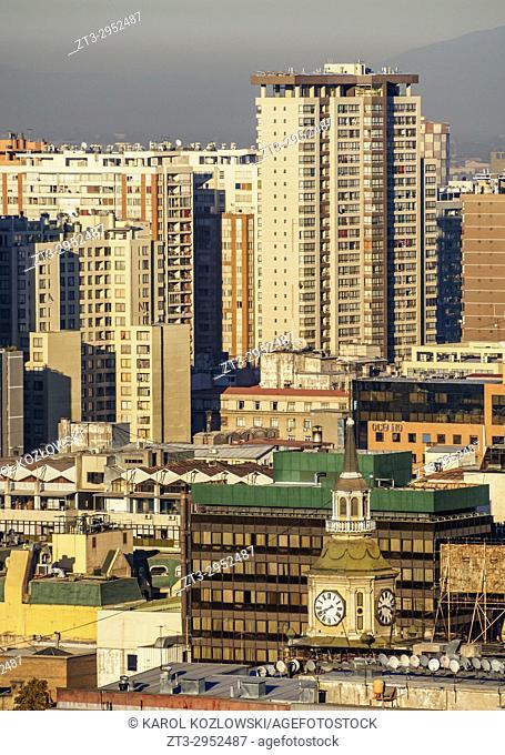 Cityscape seen from the Santa Lucia Hill, Santiago, Chile