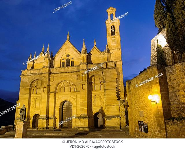 Real Colegiata church Santa María la Mayor at dusk, monumental city Antequera, Malaga province. Andalusia southern Spain