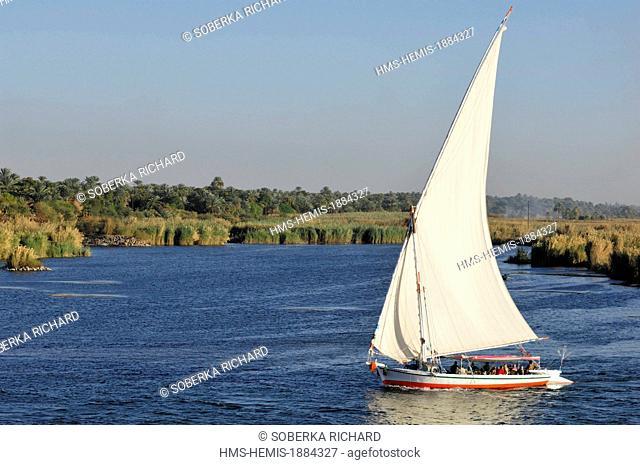 Egypt, Upper Egypt, Munihah, felucca on the Nile between Edfu and Kom Ombo