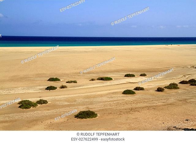 The famous lagoon in Risco El Paso at Playas de Sotavento, Fuerteventura, Canary Islands, Spain