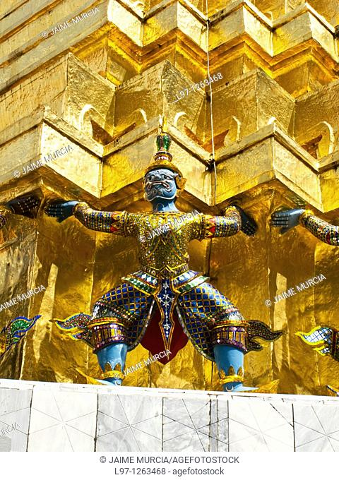 Golden roof and statue the grand palace complex Bangkok Thailand