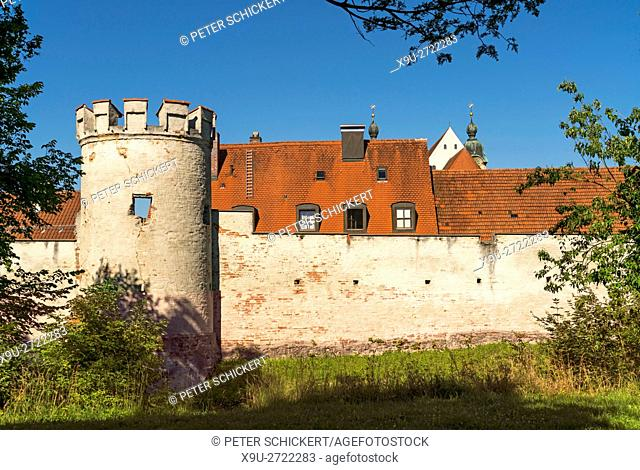 city wall of the historic old town in Landsberg am Lech, Upper-Bavaria, Bavaria, Germany, Europe