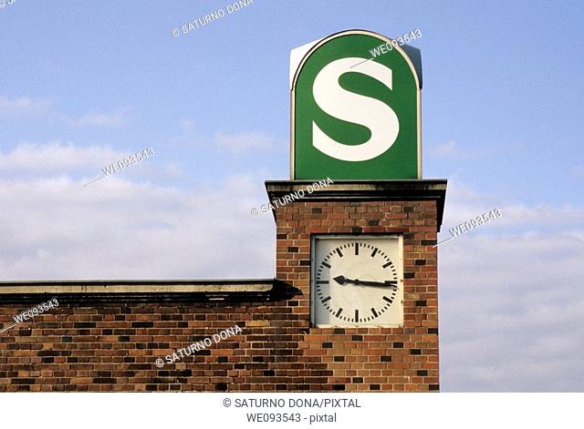 S-Bahn sign and clock in Berlin Nordbahnhof, Berlin, Germany