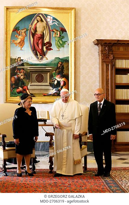 Pope Francis (Jorge Mario Bergoglio) welcoming the President of the Republic of Malta Marie Louise Coleiro Preca and her husband Edgar Preca at the private...