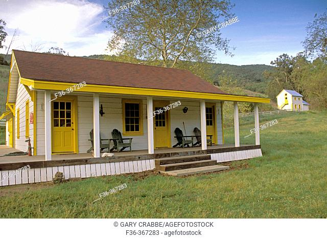 Rustic cabins at the Nature Conservancy's Main Ranch, Santa Cruz Island, Channel Islands, California