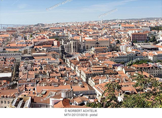 View over the roofs and Carmo Convent of Lisbon, Portugal