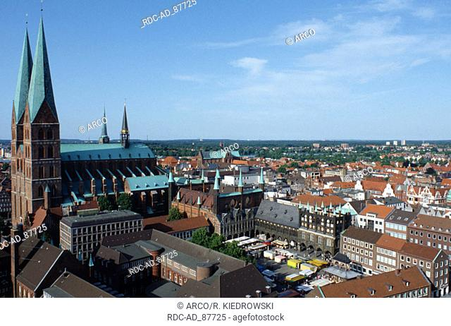 View on townhall St. Marien church and market square Lubeck Schleswig-Holstein Germany