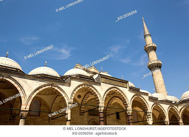 A minaret and arches, Suleymaniye Mosque, from the inner courtyard, Istanbul, Turkey
