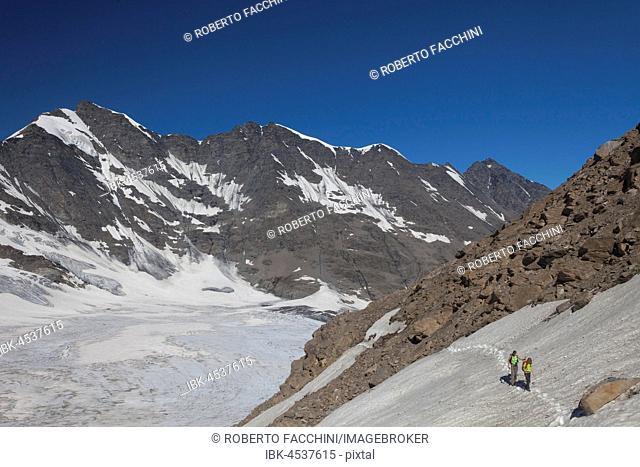 Mountain hikers, Gliarettaz glacier, near Bassac Deré pass, Valgrisenche, Aosta valley, Italy