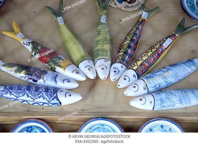 Pottery Sardine Fish Souvenirs; Loule; Algarve; Portugal