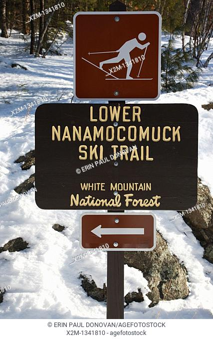 Lower Nanamocomuck Ski Trail near the Albany Covered Bridge in Albany, New Hampshire, USA just off the Kancamagus Highway