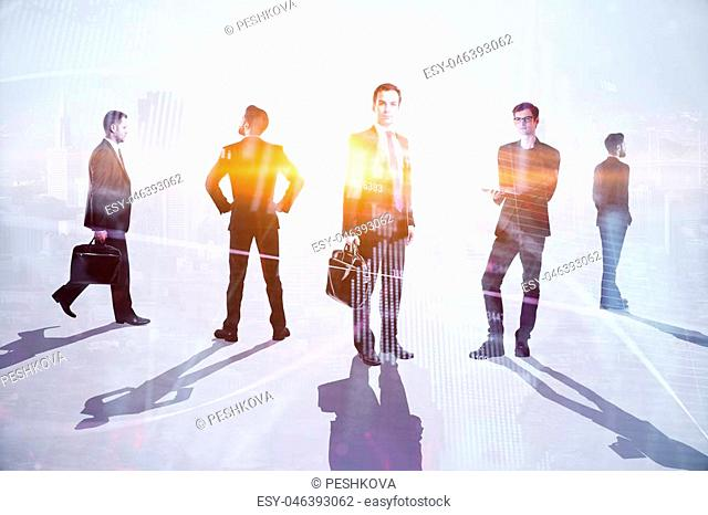 Teamwork, meeting and trading concept. Businesspeople crowd silhouettes on light city office background. Double exposure