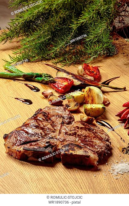 T-Bone Steak with ingredients