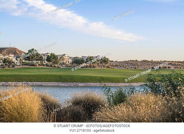 Plants, water hazard and Fairway at Hacienda Riquelme Golf Resort