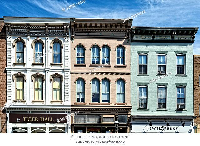 Bethlehem, PA, USA. Close Up of Old Tenement/Retail apartment building in the Historic District