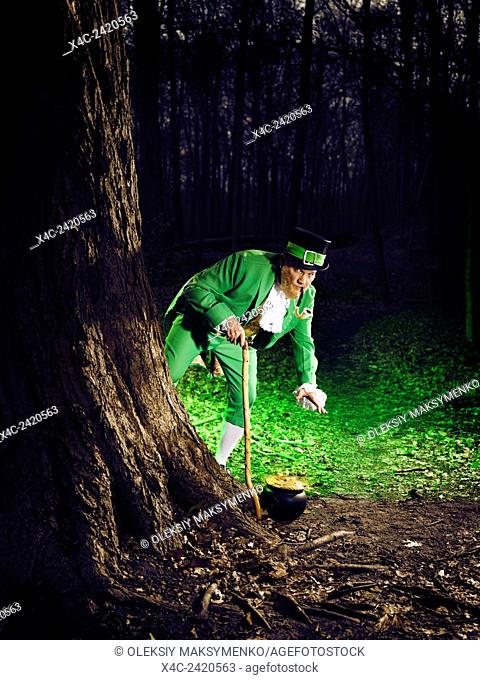 Leprechaun grabbing a pot of gold in a forest, artistic St. Patrick's holiday concept