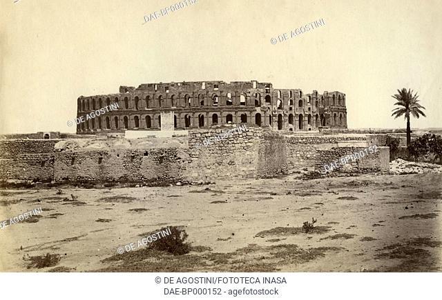 Roman amphitheatre of Thysdrus, El-Jem, Tunisia, photograph by Lodovico Tuminello, Rome, 1875