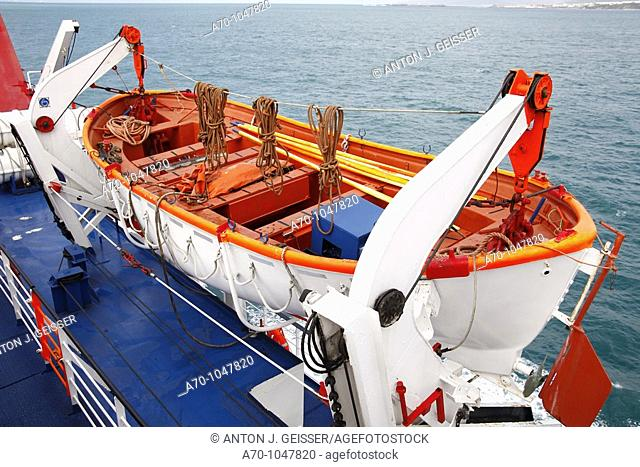 Lifeboat on the ferry from Tangier to Algeciras