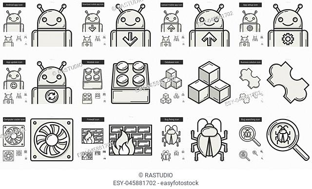Programming vector line icon set isolated on white background. Programming line icon set for infographic, website or app