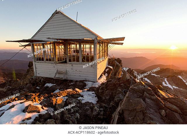 The restored fire lookout, constructed in 1932, on Three Fingers Mountain, near Seattle, Washington, USA