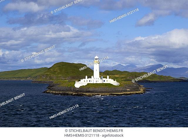 United Kingdom, Scotland, Inner Hebrides, Isle of Lismore, LIsmore Lighthouse, aboard the ferry from Oban to Craignure (Mull Island)