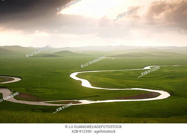 "July 2009,the Morgle River, Hulunbeir, Inner Mongolia, China  the Morgle River which is called ""the most winding river in China"" Being 39 kilometers away from..."