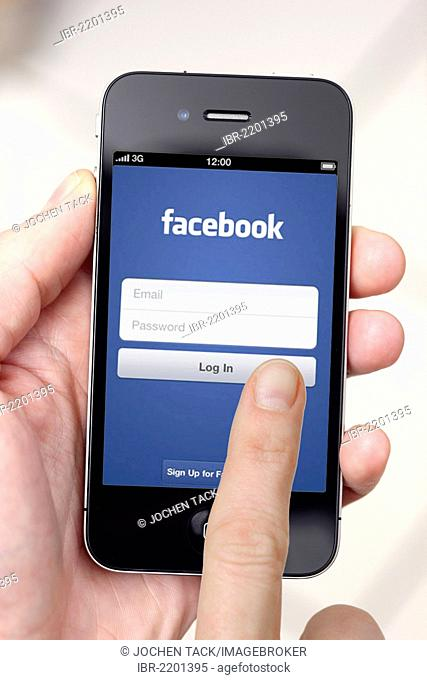 Iphone, smart phone, app on the screen, social network, Facebook