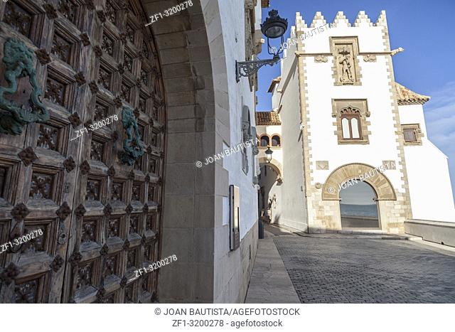 Palace, Palau Mar i Cel in catalan village of Sitges, province Barcelona, Catalonia, Spain