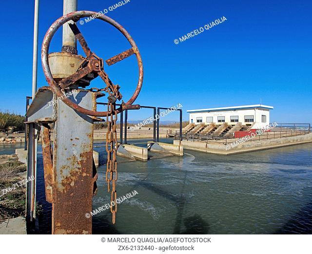Pumping station at La Marquesa Beach. Ebro River Delta Natural Park, Tarragona province, Catalonia, Spain