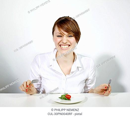 Women with Plate of Salad