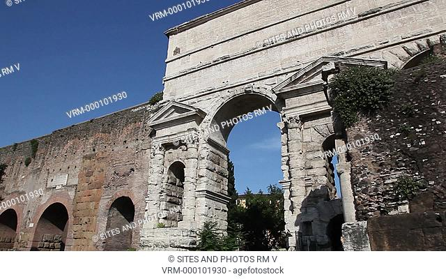 Daylight, LA, PAN on Porta Porta Maggiore Larger Gate, also known as Porta Prenestina. It was built in the 1st century AD as a monument and was incorporated...