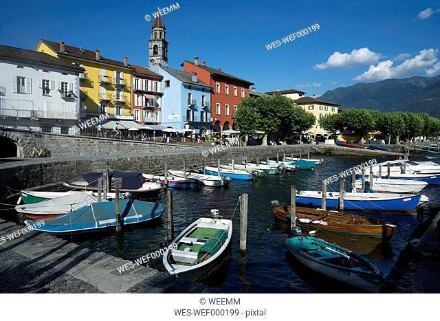 Switzerland, Ticino, Ascona, Harbour, Lago Maggiore, Church Santi Pietro e Paolo