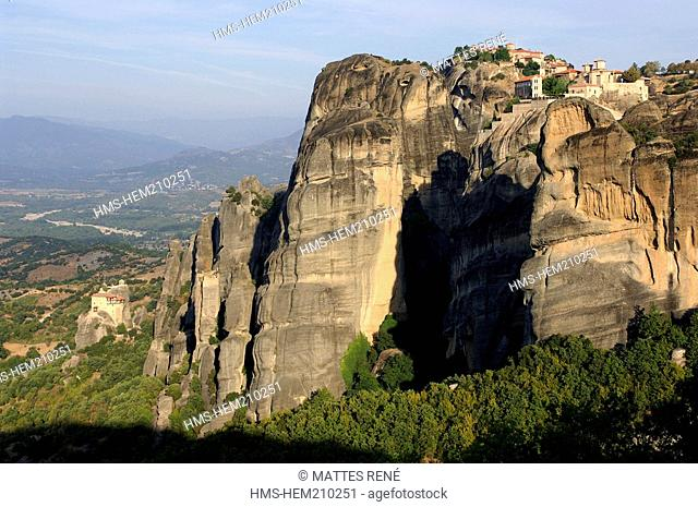 Greece, Thessaly, Meteora monasteries complex, listed as World Heritage by UNESCO, Varlaam and Grand Meteoron holy monasteries