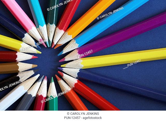 Ring of coloured pencils