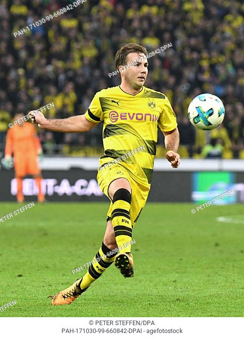 Dortmund's Mario Goetze in action during the Bundesliga soccer match between Hanover 96 and Borussia Dortmund in the HDI Arena in Hanover, Germany