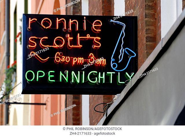 London, England, UK. Ronnie Scott's jazz club in Soho