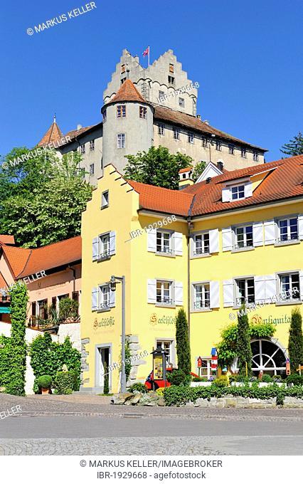The historical Burg Meersburg castle in the old town, Meersburg, Bodenseekreis county, Baden-Wuerttemberg, Germany, Europe