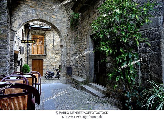Arch in a passageway of Ainsa, Huesca, Spain