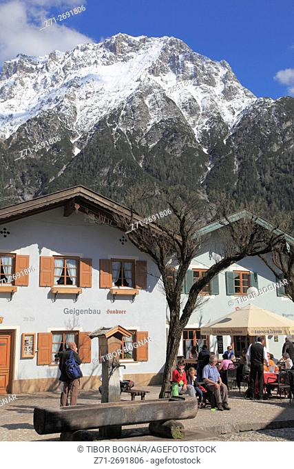 Germany, Bavaria, Alps, Mittenwald, street scene, mountain landscape,